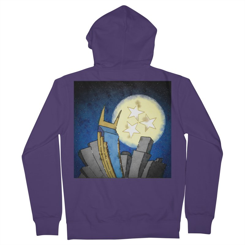Tennessee Moon over Nashville Women's Zip-Up Hoody by VisualChipsters