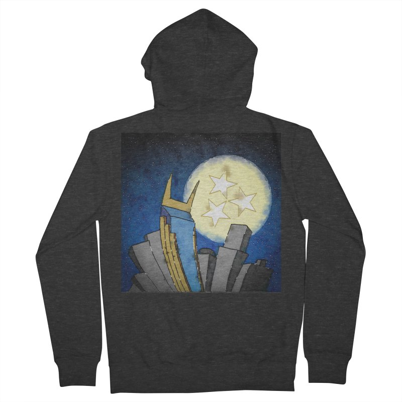 Tennessee Moon over Nashville Men's Zip-Up Hoody by VisualChipsters