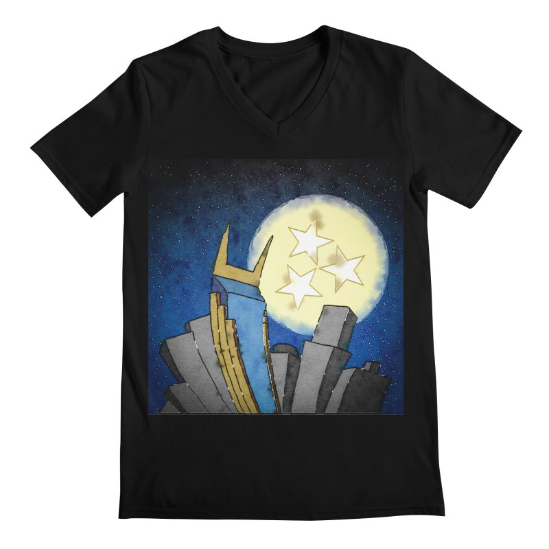 Tennessee Moon over Nashville Men's V-Neck by VisualChipsters