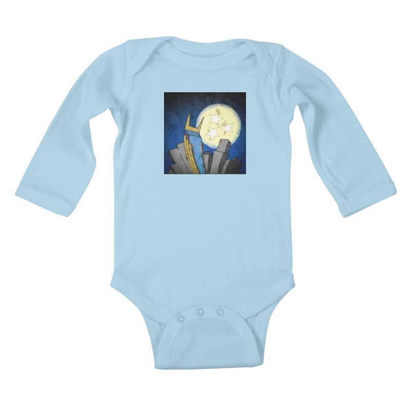 Tennessee Moon over Nashville Kids Baby Longsleeve Bodysuit by VisualChipsters