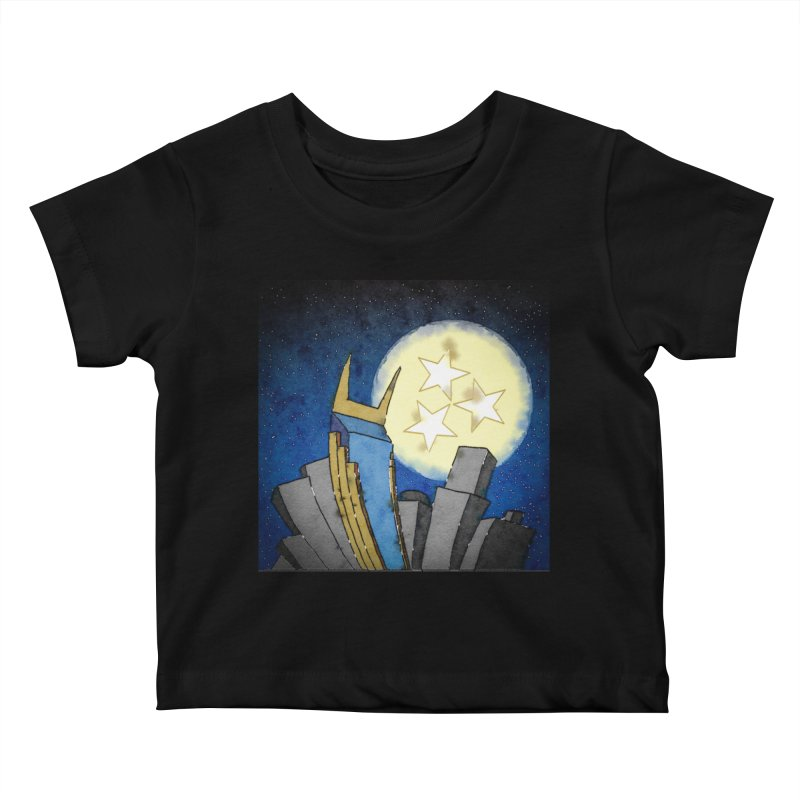 Tennessee Moon over Nashville Kids Baby T-Shirt by VisualChipsters
