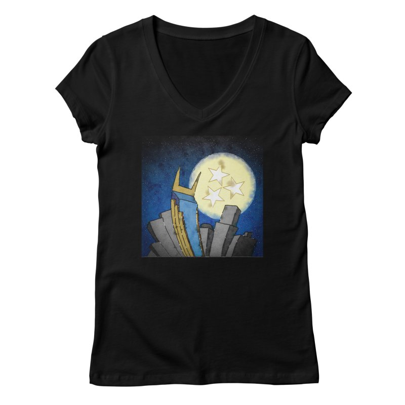 Tennessee Moon over Nashville Women's V-Neck by VisualChipsters