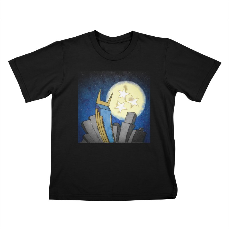 Tennessee Moon over Nashville Kids T-Shirt by VisualChipsters