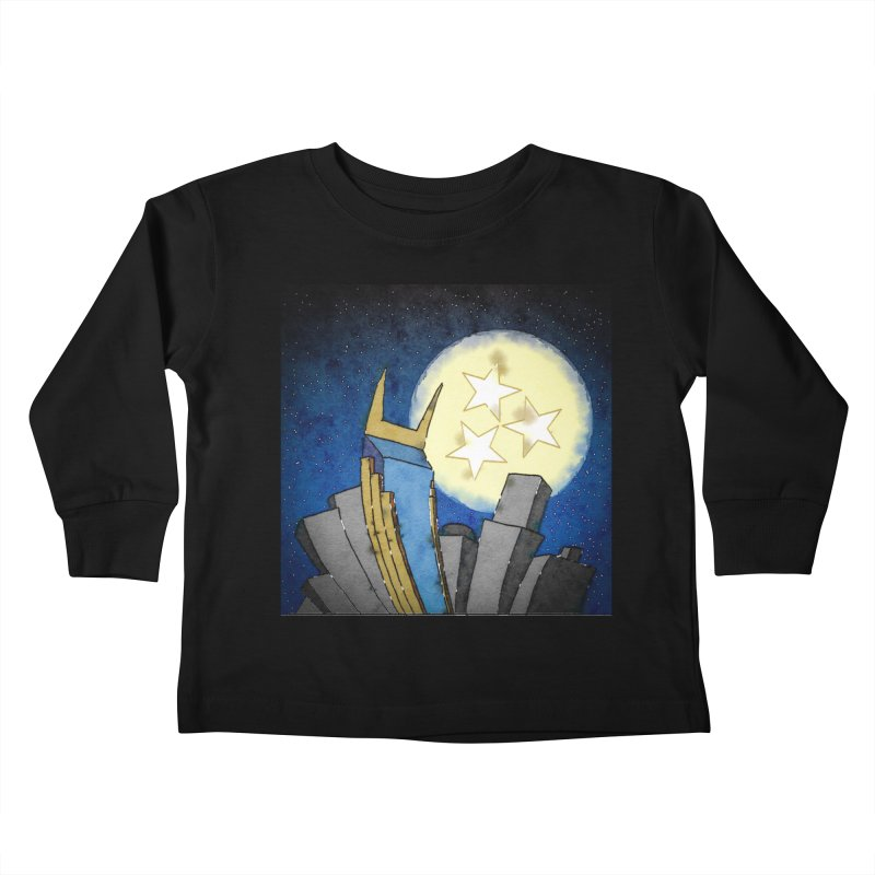Tennessee Moon over Nashville Kids Toddler Longsleeve T-Shirt by VisualChipsters