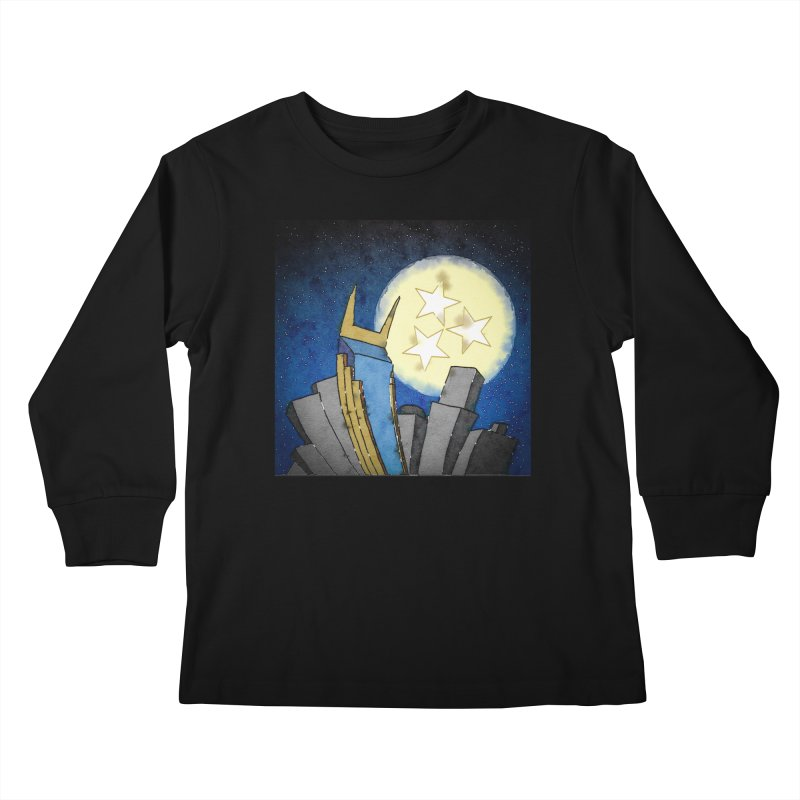 Tennessee Moon over Nashville Kids Longsleeve T-Shirt by VisualChipsters