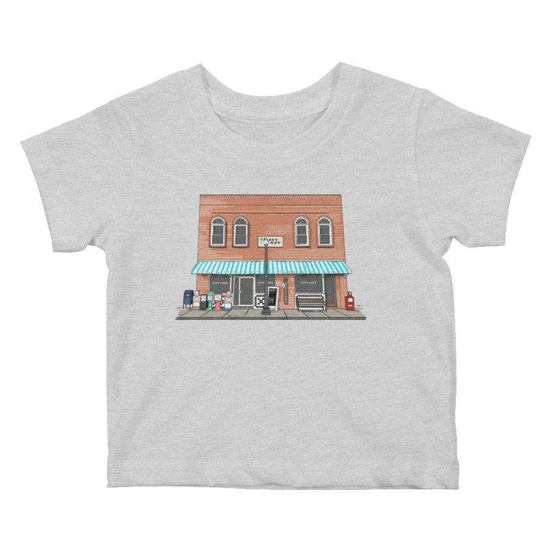 City Cafe Kids Baby T-Shirt by VisualChipsters