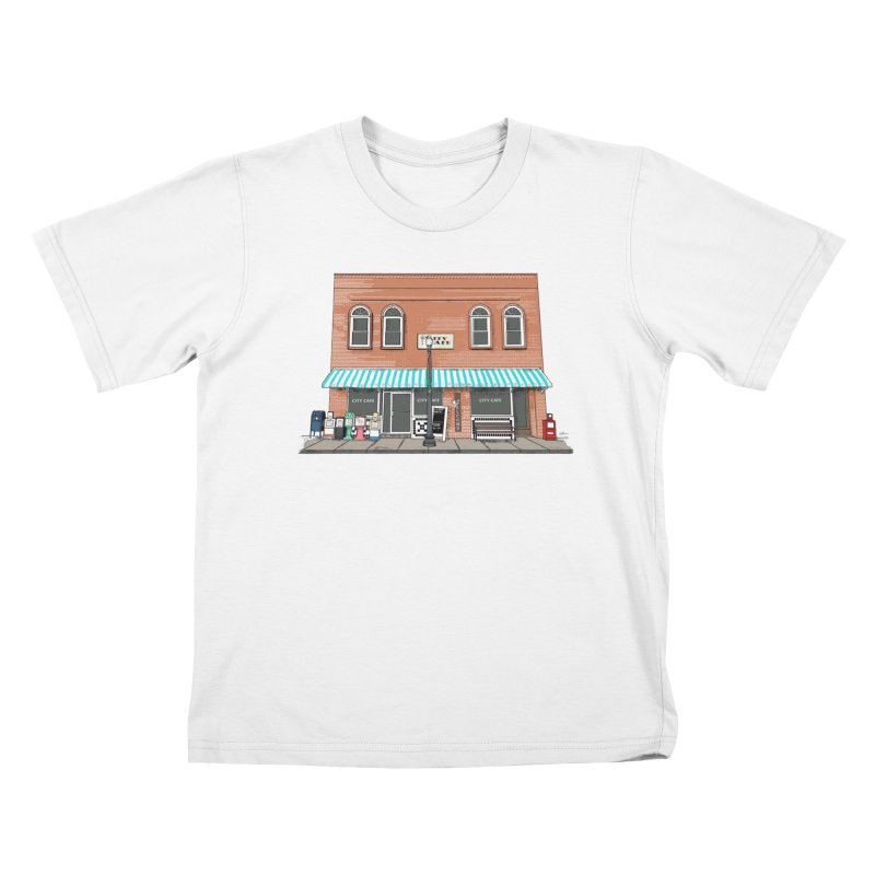 City Cafe Kids T-Shirt by VisualChipsters