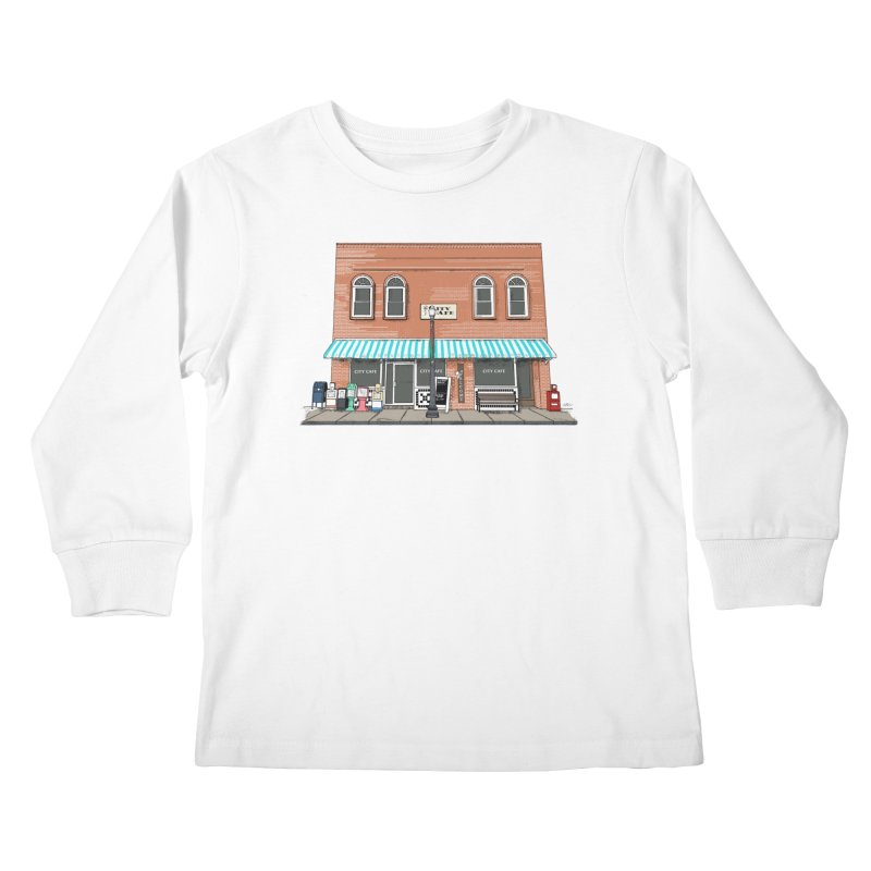 City Cafe Kids Longsleeve T-Shirt by VisualChipsters