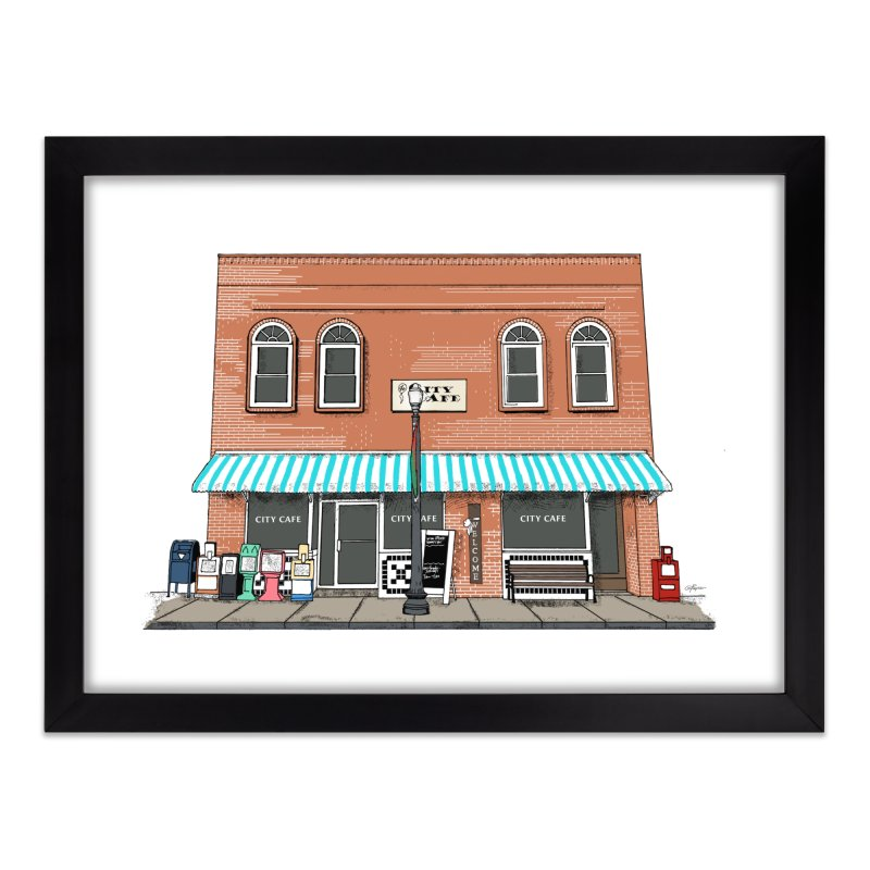 City Cafe Home Framed Fine Art Print by VisualChipsters