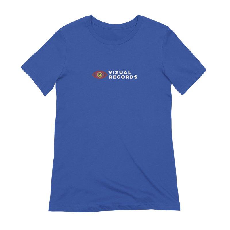 Vizual Logo Text in Women's Extra Soft T-Shirt Royal Blue by Vizual Artist Shop