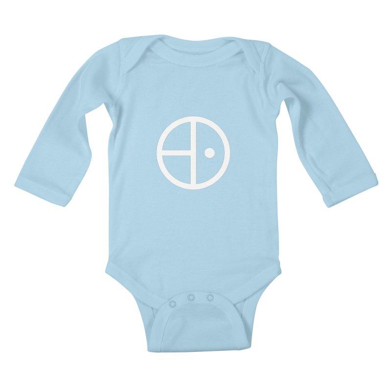 Iz & Diz White Logo in Kids Baby Longsleeve Bodysuit Powder Blue by Vizual Artist Shop