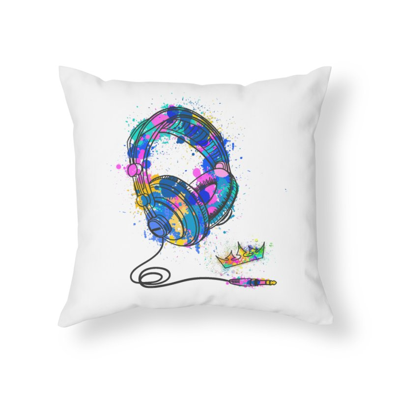 Headphones Home Throw Pillow by The VLP Vault