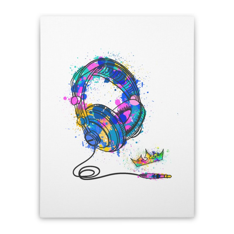 Headphones Home Stretched Canvas by The VLP Vault