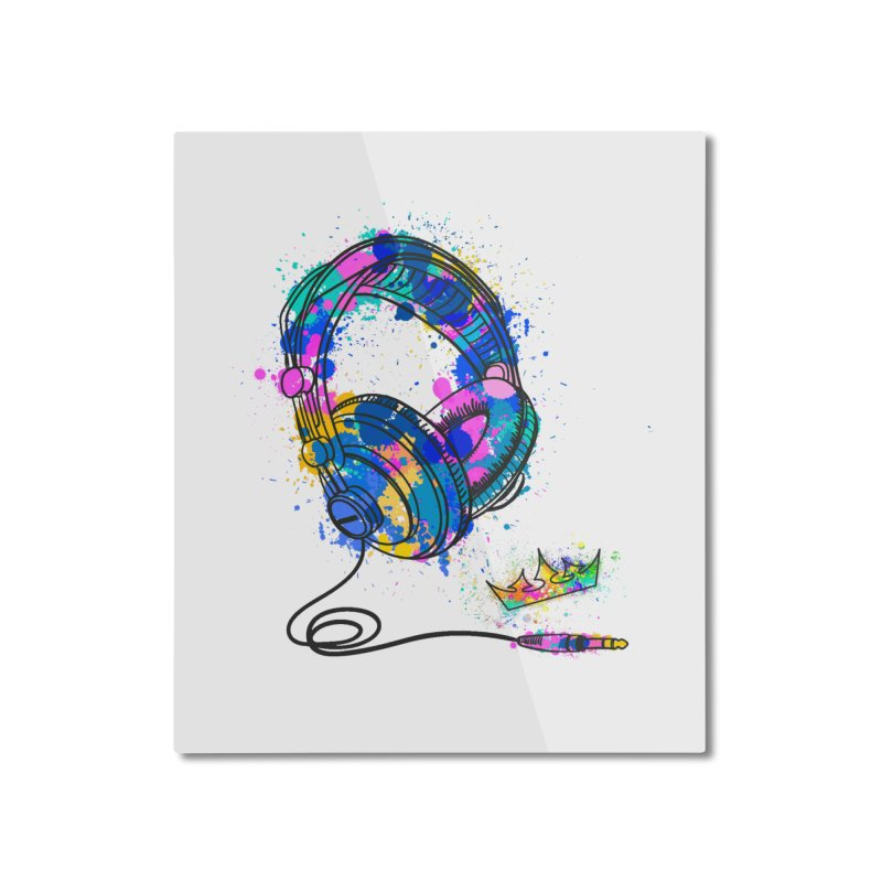 Headphones Home Mounted Aluminum Print by The VLP Vault