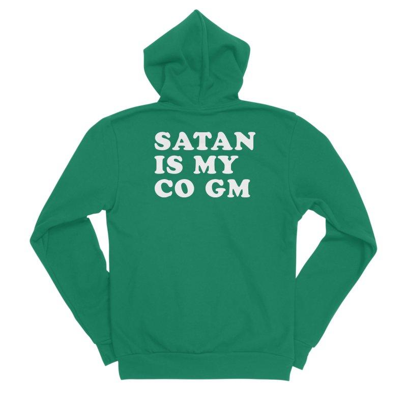 SATAN IS MY CO GM (wht) Men's Sponge Fleece Zip-Up Hoody by VOID MERCH