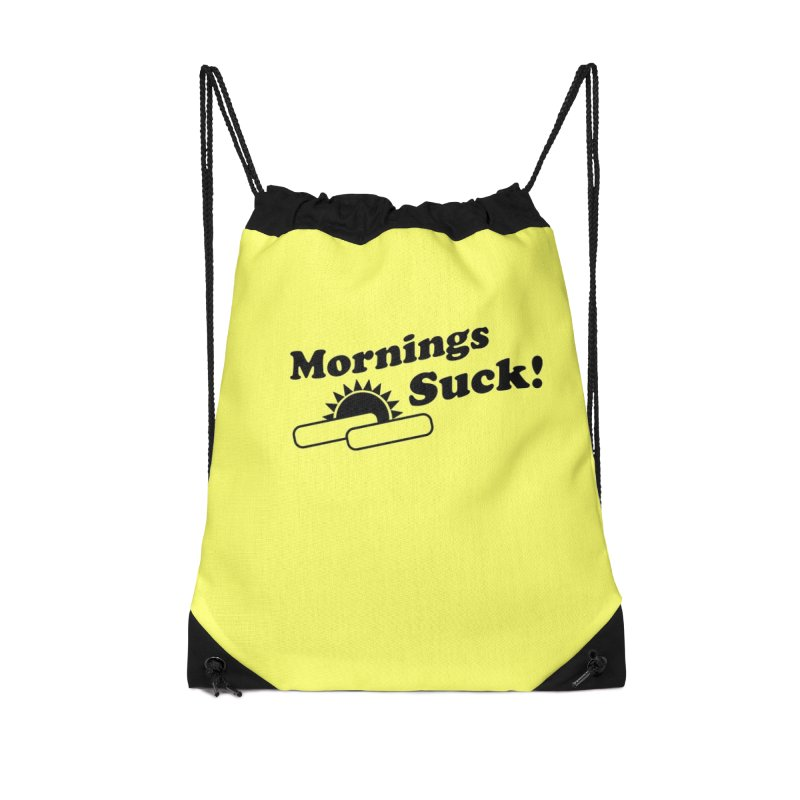 Mornings Suck! (Ishii x Voidmerch) Accessories Drawstring Bag Bag by VOID MERCH