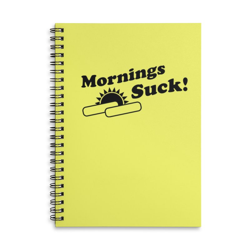 Mornings Suck! (Ishii x Voidmerch) Accessories Lined Spiral Notebook by VOID MERCH