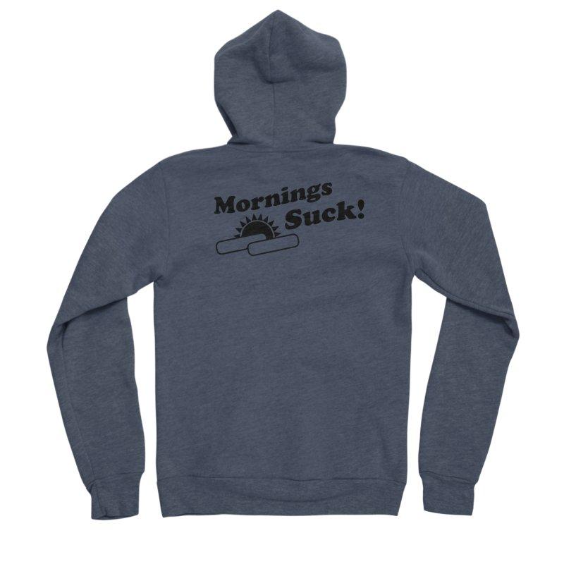 Mornings Suck! (Ishii x Voidmerch) Men's Sponge Fleece Zip-Up Hoody by VOID MERCH