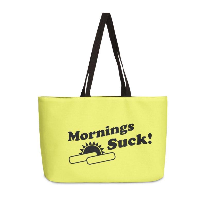 Mornings Suck! (Ishii x Voidmerch) Accessories Weekender Bag Bag by VOID MERCH