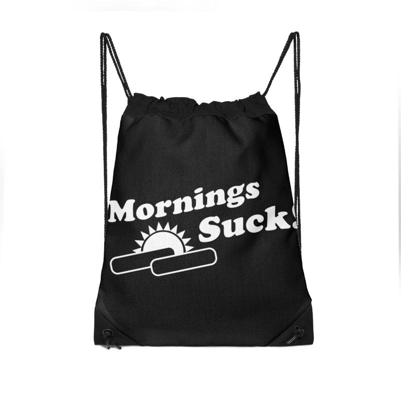 Mornings Suck! wht (Ishii x Voidmerch) Accessories Drawstring Bag Bag by VOID MERCH