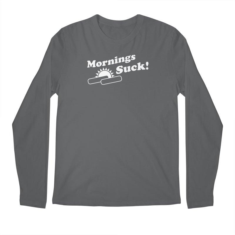 Mornings Suck! wht (Ishii x Voidmerch) Men's Regular Longsleeve T-Shirt by VOID MERCH