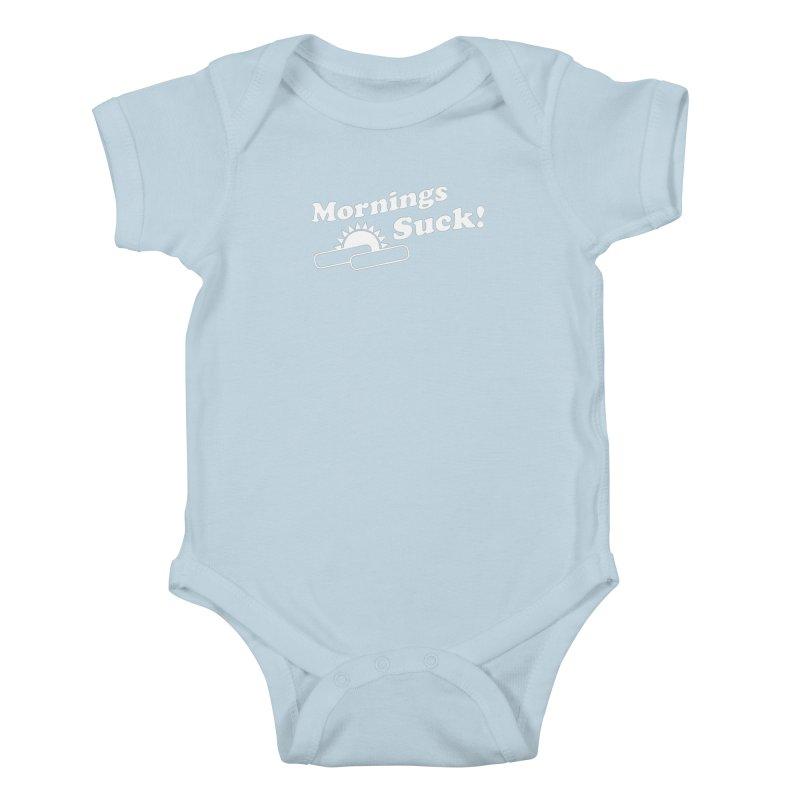Mornings Suck! wht (Ishii x Voidmerch) Kids Baby Bodysuit by VOID MERCH