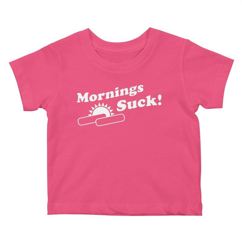 Mornings Suck! wht (Ishii x Voidmerch) Kids Baby T-Shirt by VOID MERCH