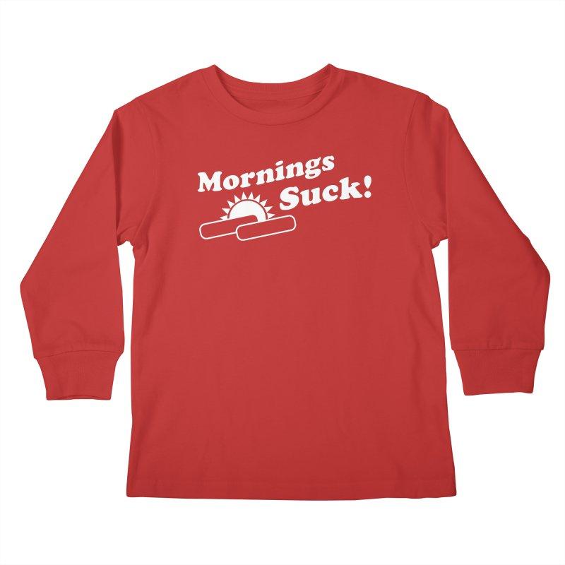 Mornings Suck! wht (Ishii x Voidmerch) Kids Longsleeve T-Shirt by VOID MERCH
