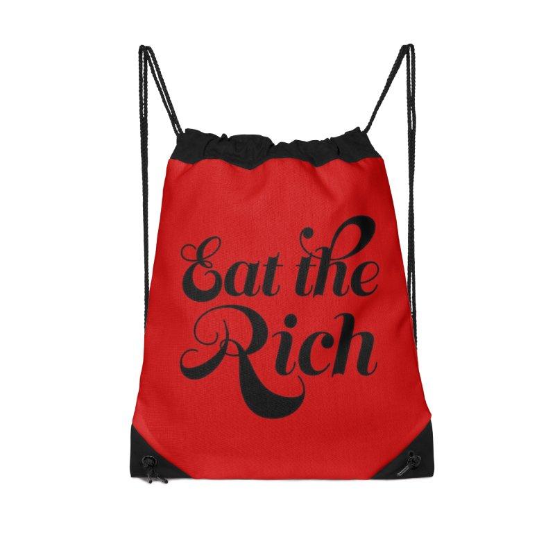 Eat the Rich (Ishii x Voidmerch) blk Accessories Drawstring Bag Bag by VOID MERCH