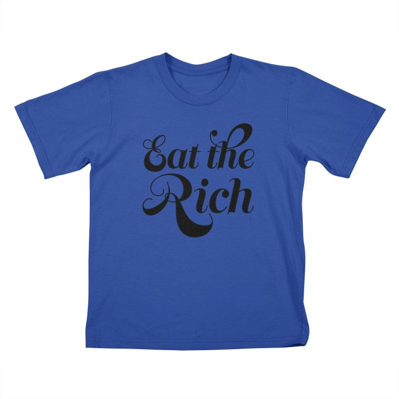 Eat the Rich (Ishii x Voidmerch) blk Kids T-Shirt by VOID MERCH