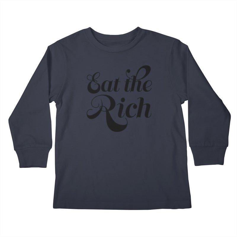 Eat the Rich (Ishii x Voidmerch) blk Kids Longsleeve T-Shirt by VOID MERCH