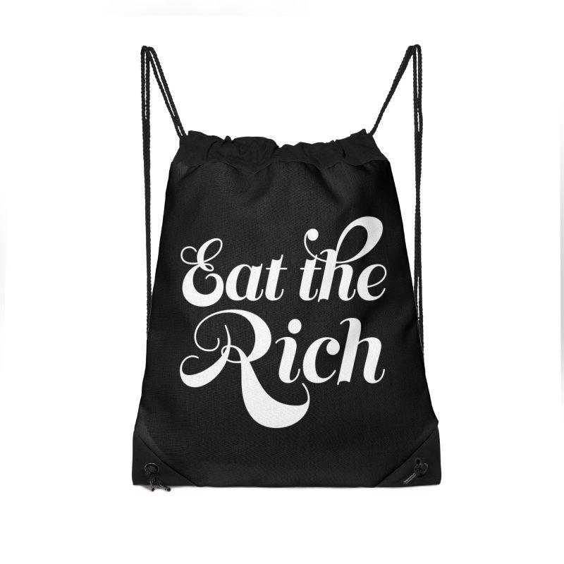 Eat the Rich (Ishii x Voidmerch) wht Accessories Drawstring Bag Bag by VOID MERCH