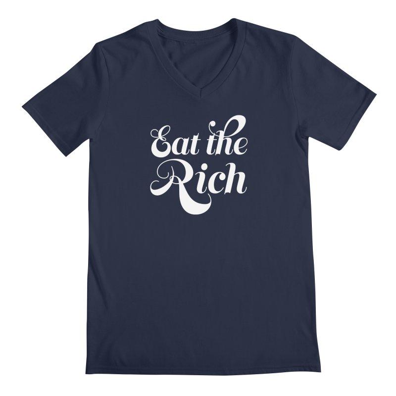 Eat the Rich (Ishii x Voidmerch) wht Men's Regular V-Neck by VOID MERCH