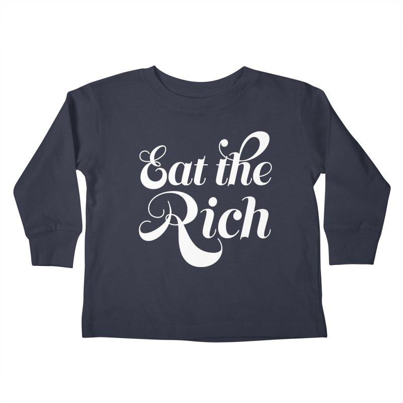 Eat the Rich (Ishii x Voidmerch) wht Kids Toddler Longsleeve T-Shirt by VOID MERCH