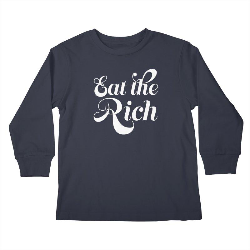 Eat the Rich (Ishii x Voidmerch) wht Kids Longsleeve T-Shirt by VOID MERCH