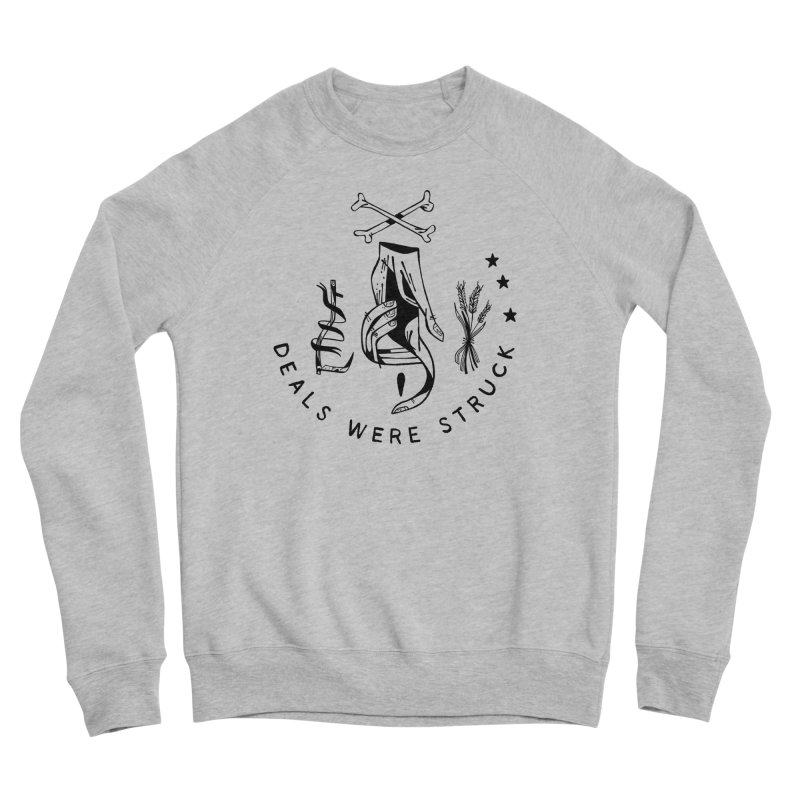 DEALS WERE STRUCK (blk) Wishbow x Voidmerch in Men's Sponge Fleece Sweatshirt Heather Grey by VOID MERCH