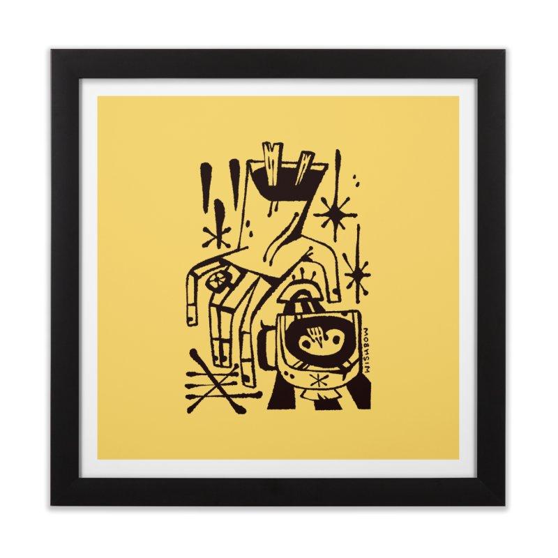 MORNING BREW (blk) Wishbow x Voidmerch Home Framed Fine Art Print by VOID MERCH