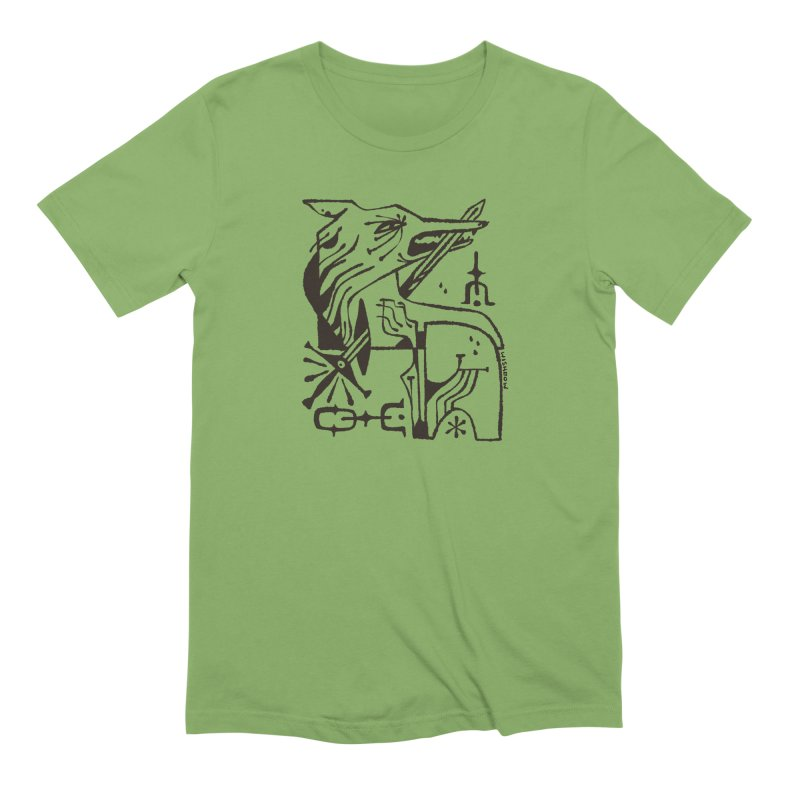 SWORD WOLF (blk) Wishbow x Voidmerch in Men's Extra Soft T-Shirt Avocado by VOID MERCH