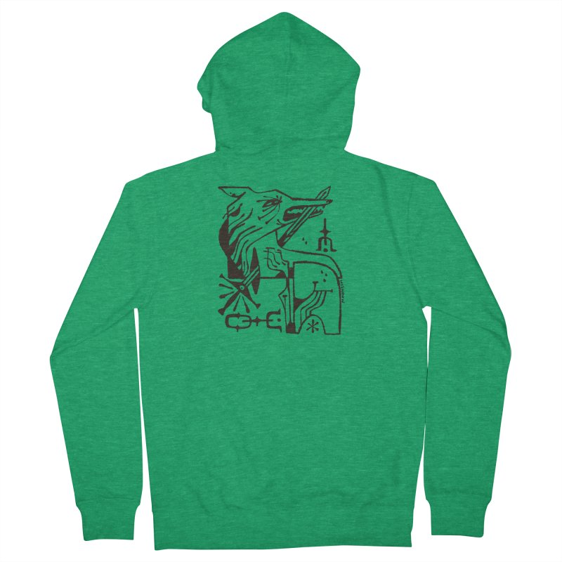 SWORD WOLF (blk) Wishbow x Voidmerch Women's French Terry Zip-Up Hoody by VOID MERCH