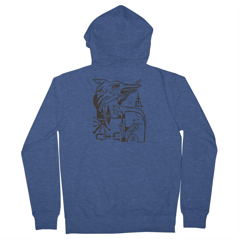 SWORD WOLF (blk) Wishbow x Voidmerch Men's French Terry Zip-Up Hoody by VOID MERCH