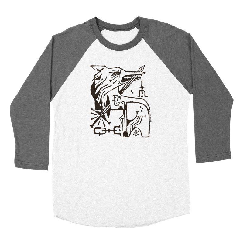 SWORD WOLF (blk) Wishbow x Voidmerch Women's Baseball Triblend Longsleeve T-Shirt by VOID MERCH