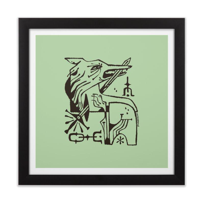SWORD WOLF (blk) Wishbow x Voidmerch Home Framed Fine Art Print by VOID MERCH