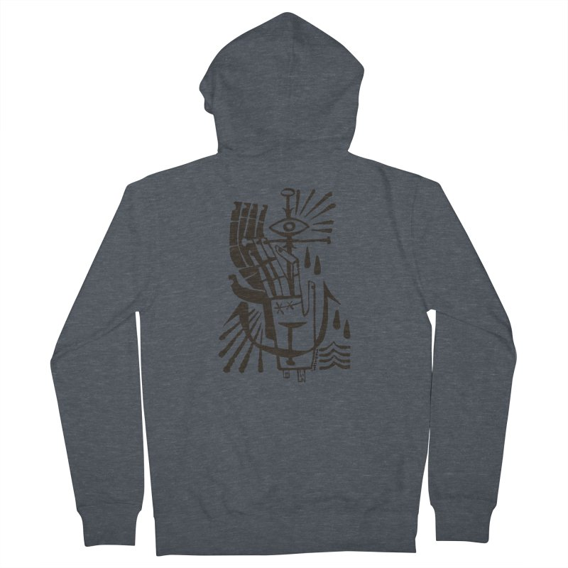 ANCHOR (blk) Wishbow x Voidmerch Men's French Terry Zip-Up Hoody by VOID MERCH