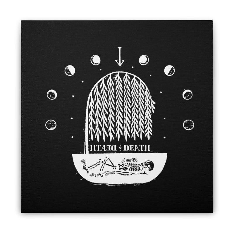 DEATH DEATH (wht) Wishbow x Voidmerch Home Stretched Canvas by VOID MERCH
