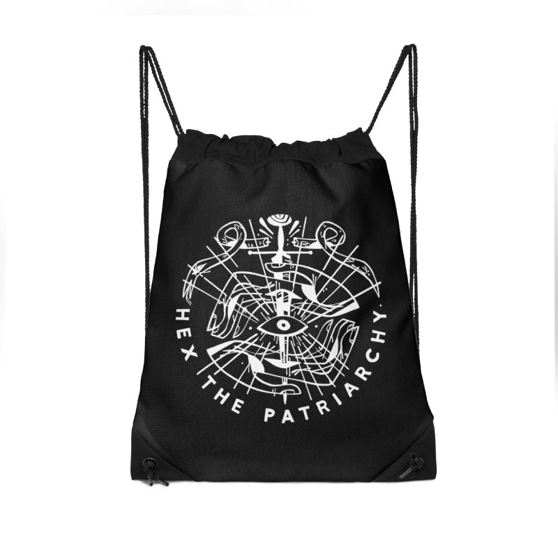 HEX THE PATRIARCHY (wht) Wishbow x Voidmerch Accessories Drawstring Bag Bag by VOID MERCH