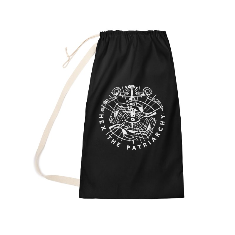 HEX THE PATRIARCHY (wht) Wishbow x Voidmerch Accessories Laundry Bag Bag by VOID MERCH