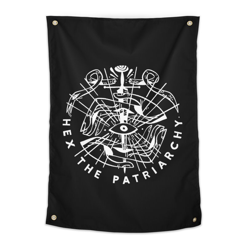 HEX THE PATRIARCHY (wht) Wishbow x Voidmerch Home Tapestry by VOID MERCH
