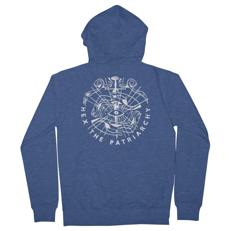 HEX THE PATRIARCHY (wht) Wishbow x Voidmerch Women's French Terry Zip-Up Hoody by VOID MERCH