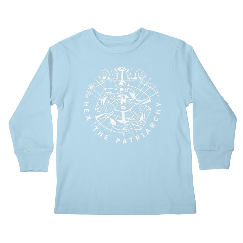 HEX THE PATRIARCHY (wht) Wishbow x Voidmerch Kids Longsleeve T-Shirt by VOID MERCH