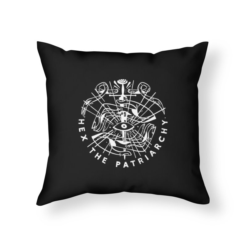 HEX THE PATRIARCHY (wht) Wishbow x Voidmerch Home Throw Pillow by VOID MERCH